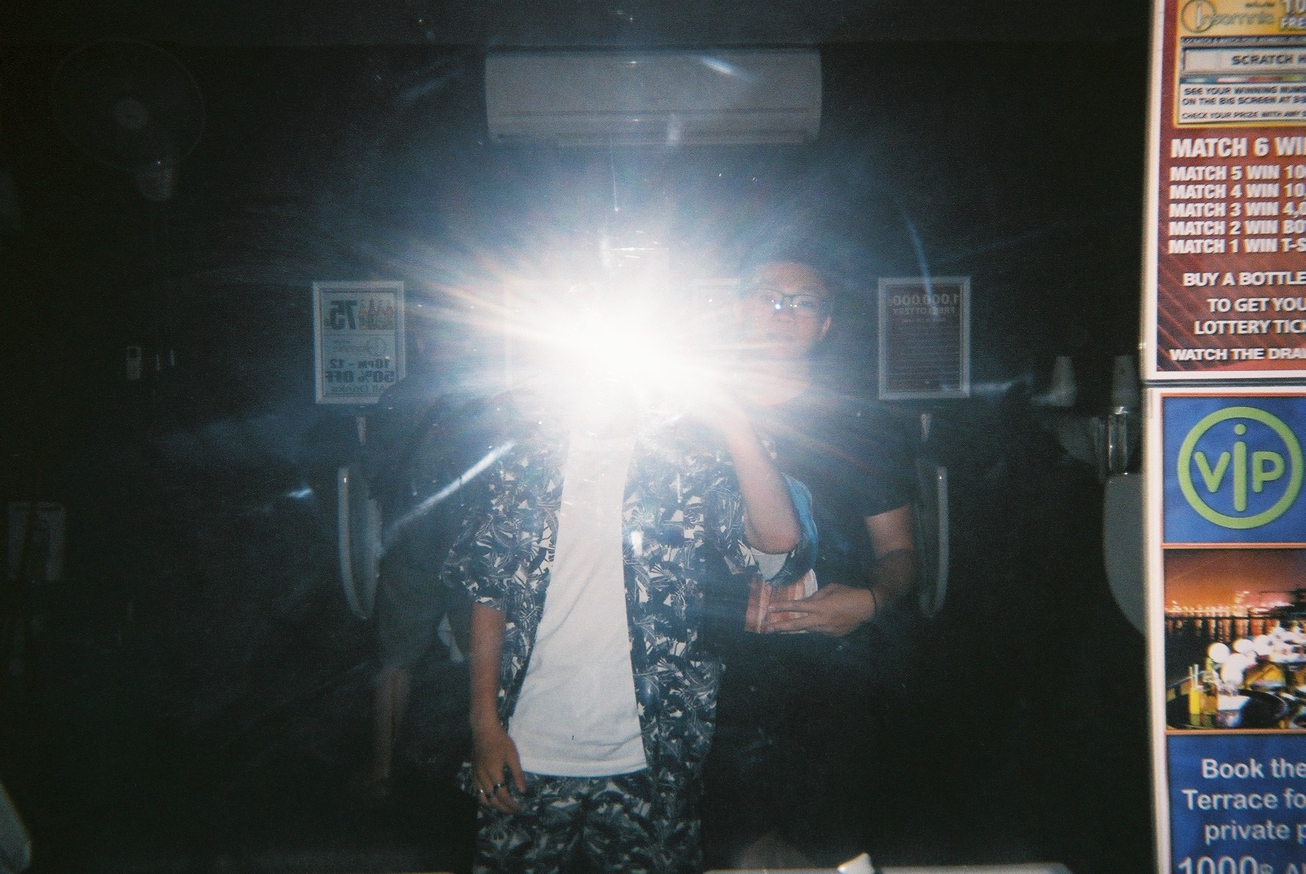 mirror shot using a disposable camera with flash on